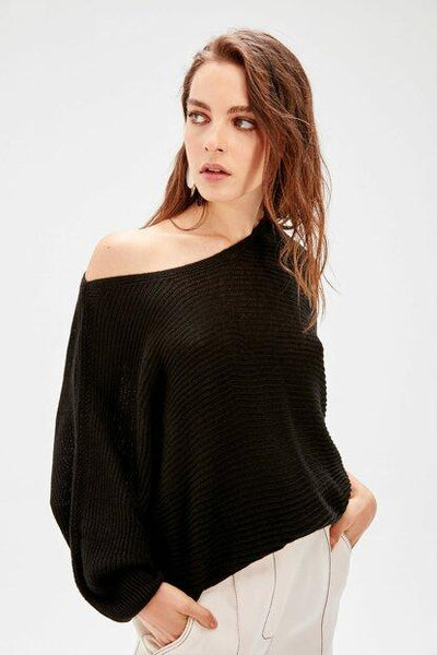Women's Batwing Sleeves Black Sweater.