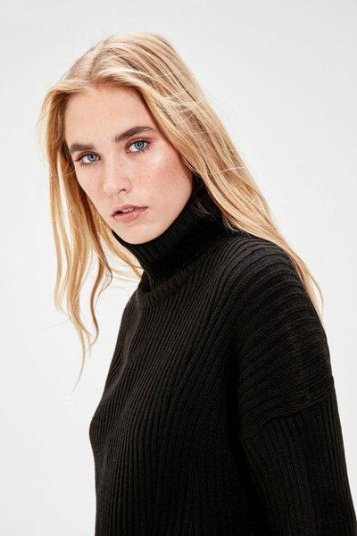 Women's Turtleneck Slit Black Tricot Sweater.
