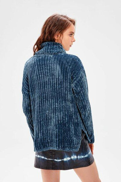 Women's Turtleneck Petrol Chenille Sweater.
