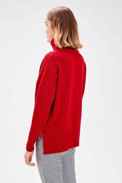 Women's Turtleneck Red Tricot Sweater.