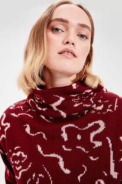Women's Patterned Claret Red Tricot Sweater.