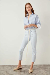 Women's High Waist Ice Blue Slim Fit Jeans
