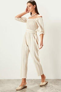 Women's Tie Detail Camel Jumpsuit