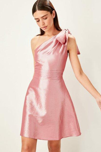 Women's Drape Detail Dusty Rose Dress.