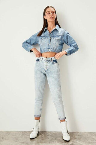 Women's Front Button High Waist Blue Mom Jeans