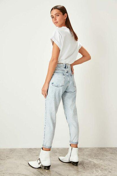 Women's Front Button High Waist Blue Mom Jeans-9