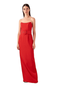 Women's Belted Red Evening Dress.