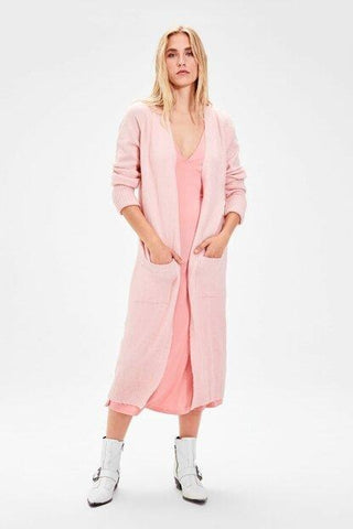 Women's Long Pocket Powder Rose Tricot Cardigan.