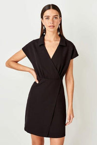 Women's Wrap Collar Black Dress.