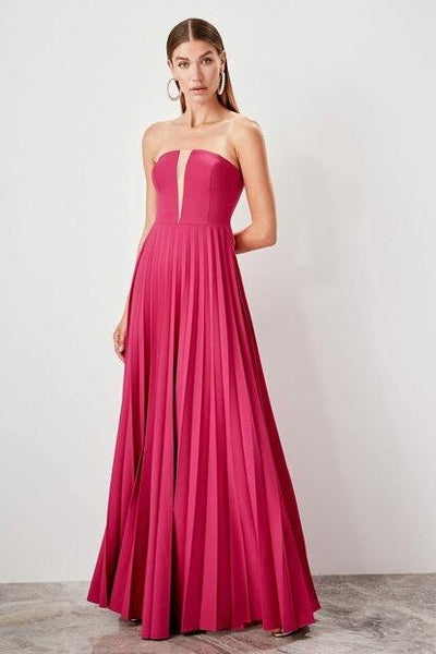 Women's Pleated Fuchsia Evening Dress - Fashion Under Arrest