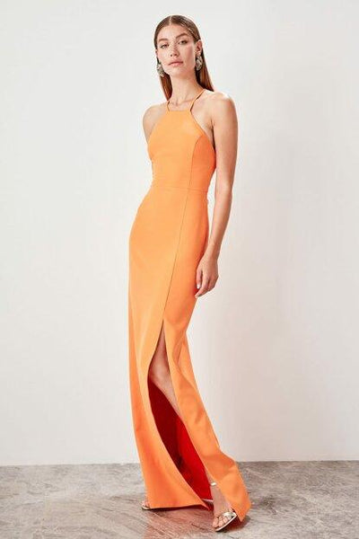 Women's Slit Orange Evening Dress.