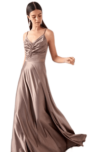 Women's Drape Collar Brown Evening Dress.
