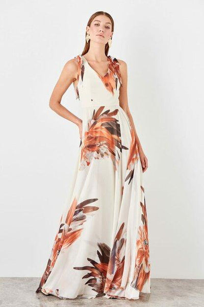 Women's Floral Pattern Evening Dress - Fashion Under Arrest