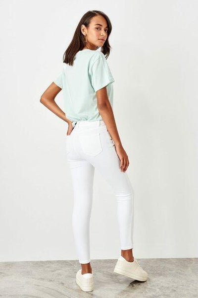 Women's High Waist Ripped White Skinny Jeans
