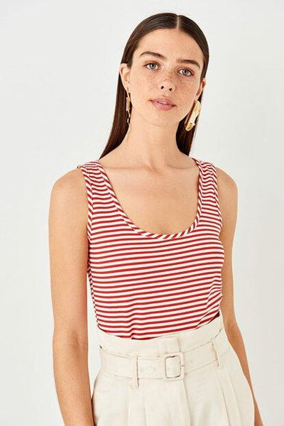 Women's Red Striped Sleeveless T-shirt.