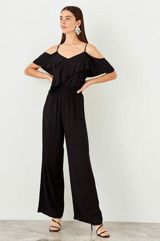 Women's Strappy Frill Black Jumpsuit