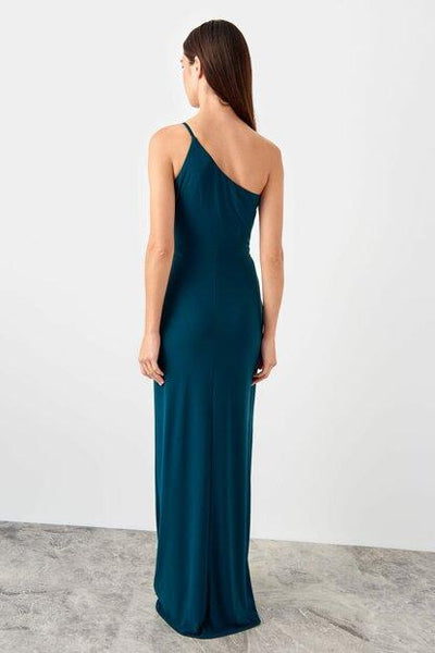 Women's Waist Detail Emerald Green Evening Dress - Fashion Under Arrest