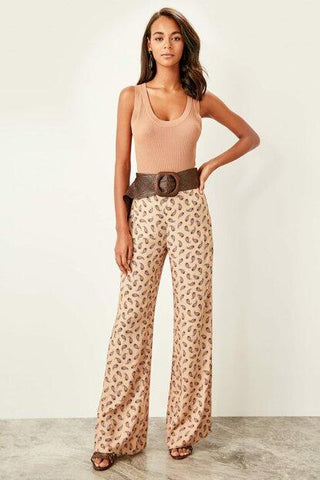 Women's Patterned Camel Trousers