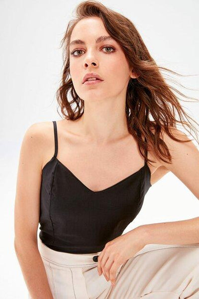 Women's Strappy Black Blouse.