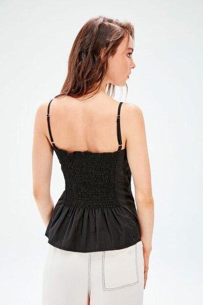 Women's Strappy Black Blouse - Fashion Under Arrest