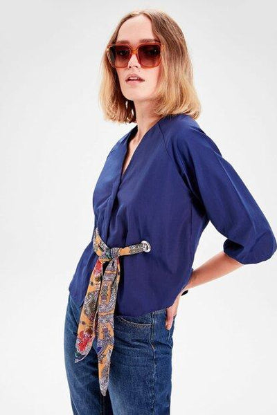 Women's Kerchief Detail Navy Blue Blouse - Fashion Under Arrest