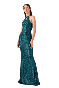 Women's Emerald Green Sequin Evening Dress.
