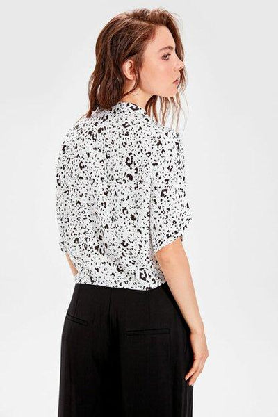 Women's Tie Front Patterned White Shirt