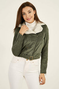 Women's Fur Collar Khaki Velvet Jacket