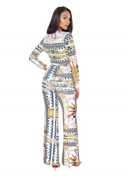 Printing Long Sleeve V-neck Wide Leg Jumpsuit Rompers.