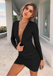 Women's Deep V Neck Hollow Backless Bodycon Dress Long Sleeve Sexy Club Party Dress