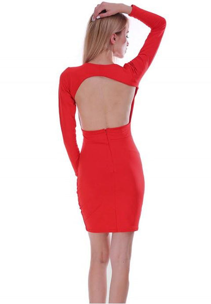 Women's Deep V Neck Hollow Backless Bodycon Dress Long Sleeve Sexy Club Party Dress.
