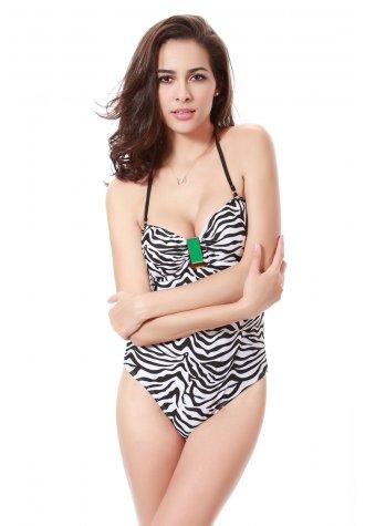 Zebra Printed Halter Cut Out Monokini
