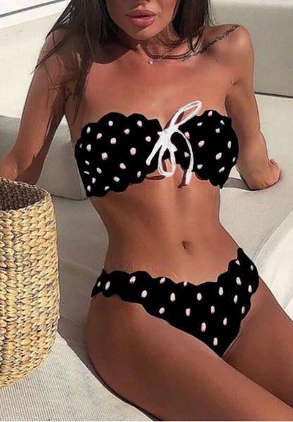 Dotted Bandeau Bikini Set - Fashion Under Arrest