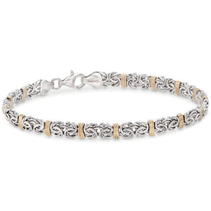 Two Toned 5th Avenue Modern Byzantine Bracelet in 14K Gold