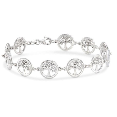 18K White Gold Plated Tree of Life Circular Design Classic Bracelet - Fashion Under Arrest