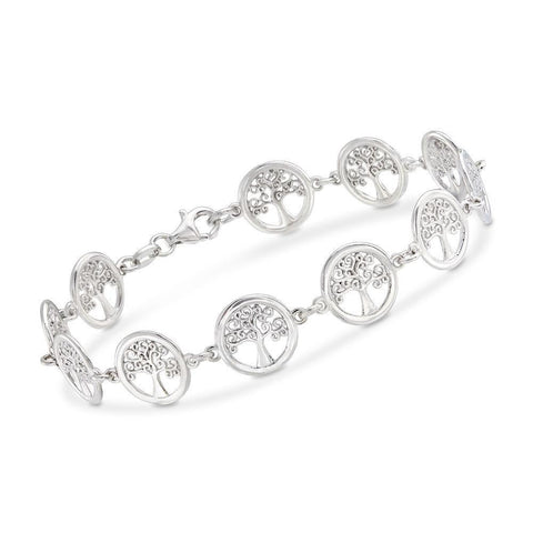 Tree of Life Disc Bracelet in 18K White Gold Plated - Fashion Under Arrest