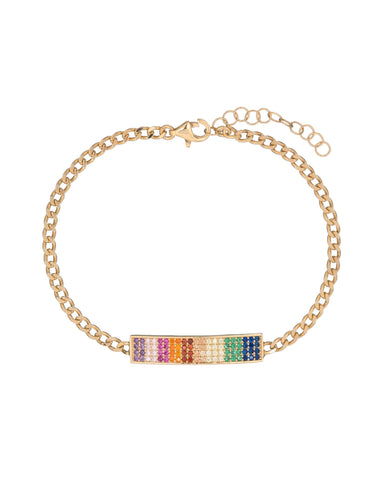 Ombre Pave Rainbow Chain Bracelet with Swarovski Crystals in 18K Gold Plated - Fashion Under Arrest