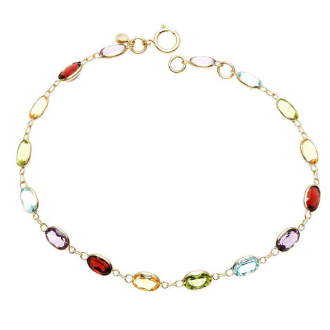 "10.00 CT Marquise Cut Natural Gemstones 7.8"" Bracelet in 18K Gold Plated - Fashion Under Arrest"