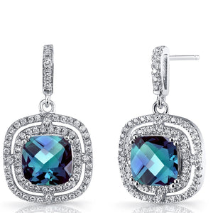 4.00 CT Aquamarine Pave Ecentric Drop Earringin 18K White Gold Plated