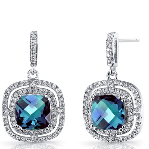 4.00 CT Aquamarine Pave Ecentric Drop Earringin 18K White Gold Plated.