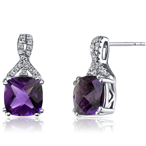 2.00 CT Cushion Cut Amethyst Stud Earring in 18K White Gold Plated.