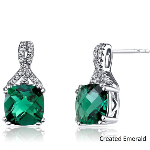 2.00 CT Cushion Cut Emerald Stud Earring in 18K White Gold Plated.