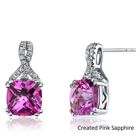2.00 CT Cushion Cut Pink Tourmaline Stud Earring in 18K White Gold Plated.