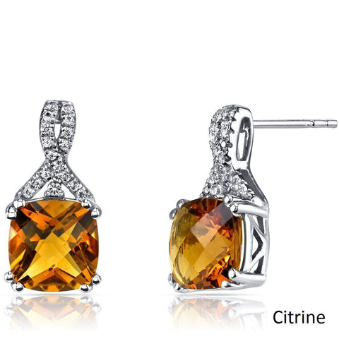 2.00 CT Cushion Cut Citrine Stud Earring in 18K White Gold Plated.