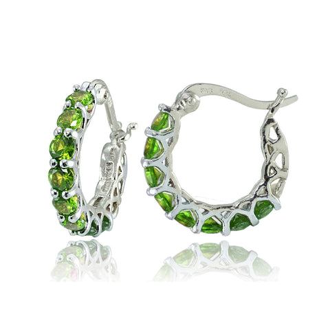 "4.00 CT Peridot Gemstone 1"" French Lock Hoop Earringin 18K White Gold Plated - Fashion Under Arrest"