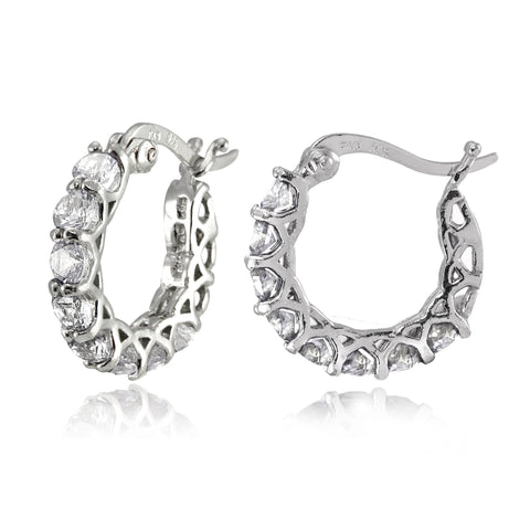 "4.00 CT Austrian Crystal 1"" French Lock Hoop Earringin 18K White Gold Plated."