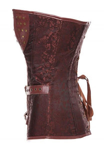 Retro Steampunk Faux Leather Corsets Bustiers Top.