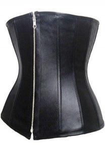 Faux Leather Plain Underbust Corset.