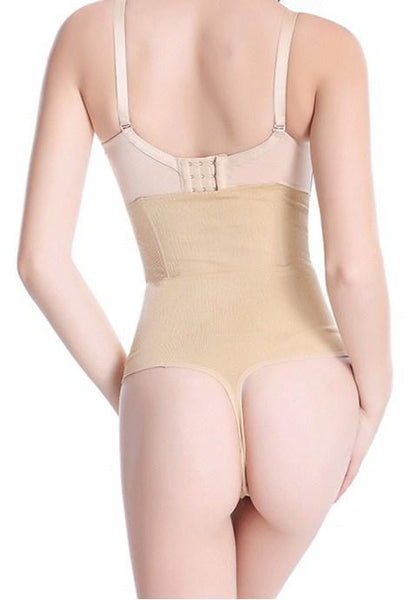 Thin seamless body paragraph ultra high waist belly in thong.