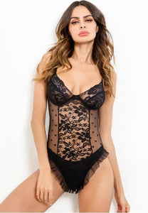 Eye Catching Mesh and Lace Teddy.